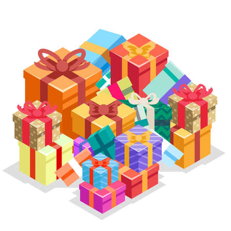 Gift box pile isolated object isometric 3d icon flat design vector illustration