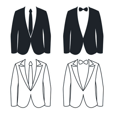 Shirt tie and bow business suit silhouette lineart vector illustration
