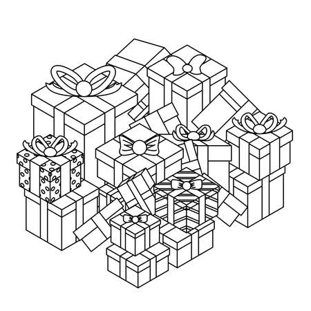 Outline lineart gift box pile isolated object isometric 3d icon design vector illustration
