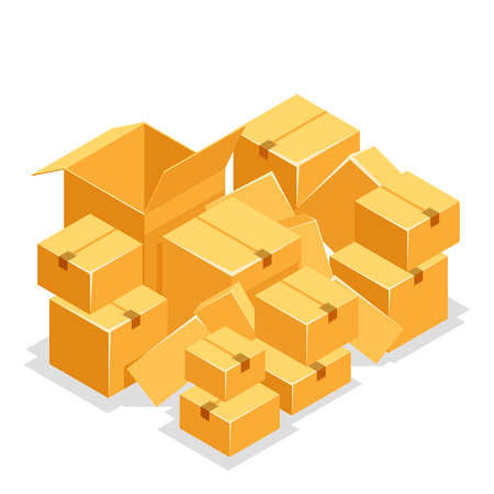 Cardboard box pile isolated object isometric 3d icon design flat vector illustration