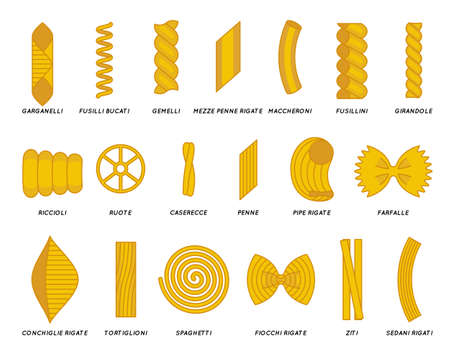 Noodles pasta flat outline design set icons vector illustration