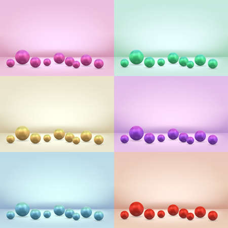 Pearl sphere ball on colored studio scene background vector illustration