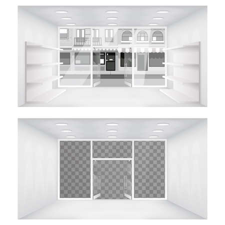 Transparent city street open doors store interior 3d shop empty shelves space background vector illustration Stock Illustratie