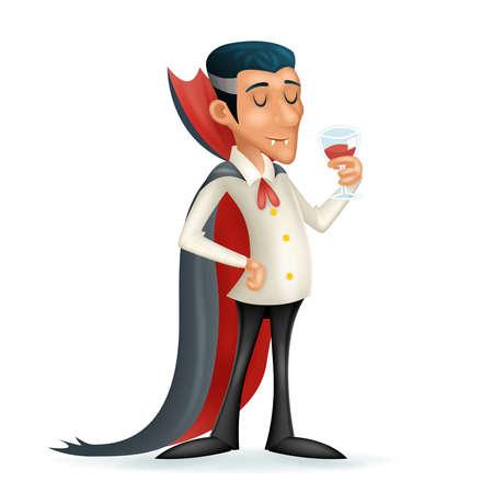 3d vampire gentleman costume halloween party savor drink glass blood icon retro vintage cartoon design vector illustration Vettoriali