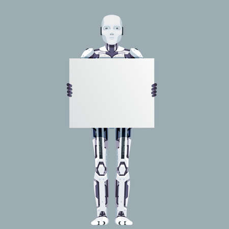 Blank poster in hands robot android technology science fiction future 3d design vector illustration