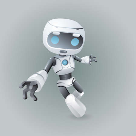 Dinamic robot holds out his hand technology science fiction future 3d design vector illustration