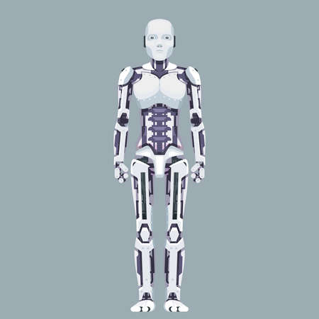 Stand robot android technology science fiction future 3d design vector illustration