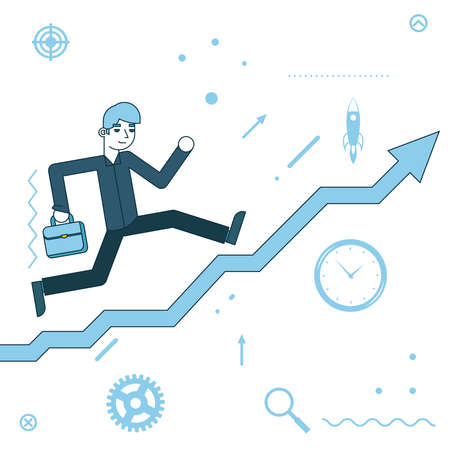 Businessman running to success on infographic stairs flat design Vector Illustration 矢量图像