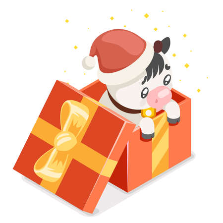 Cute cartoon baby cow ox cub gift box isometric chinese new year flat design vector illustration 向量圖像