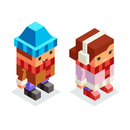 Children winter clothes isometric boy girl kids lowpoly flat cartoon design vector illustration Illusztráció