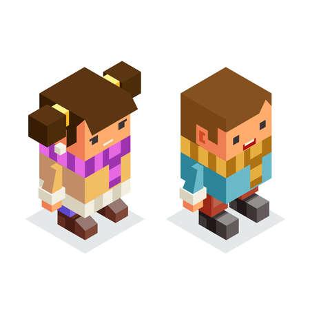 Isometric children winter clothes boy girl kids lowpoly flat cartoon design vector illustration Illusztráció