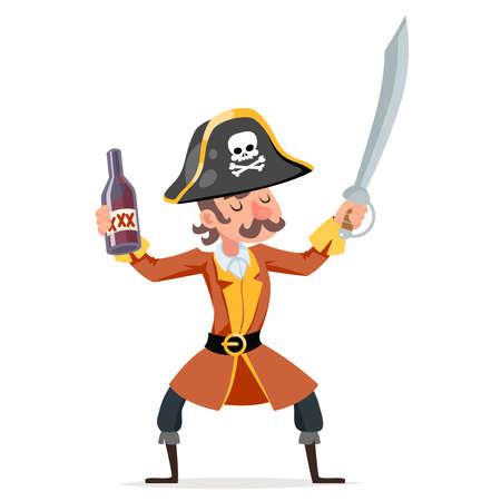 Cute cartoon pirate rum bottle character design vector illustration