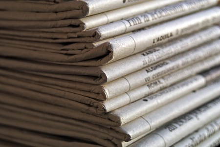 Newspapers pile Stock Photo