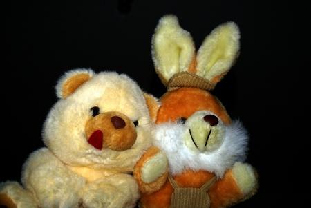 Hase und Teddy bear