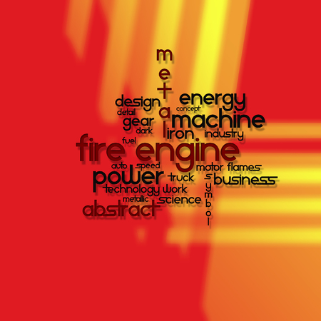 Written vector engine fire on abstract colored background