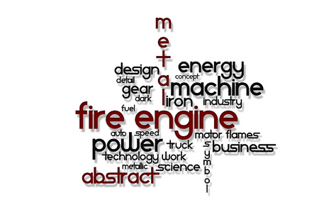 Written vector engine fire on a white background
