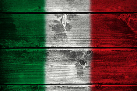 Vector Flag of Italy with official colors and proportions on wood
