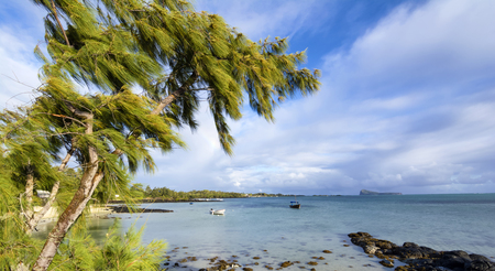 Northern mauritius beach view on a windy day Stock Photo