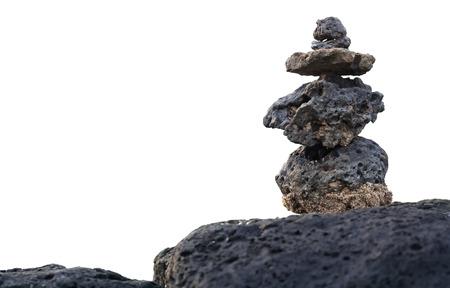 岩の積み重ね、白で隔離