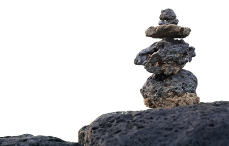 Rocks stacked and isolated on white Stock Photo - 88545975