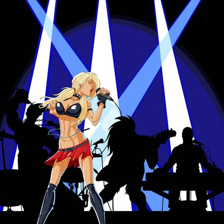 Illustration of a female singer singing at a concert with her band. Vector