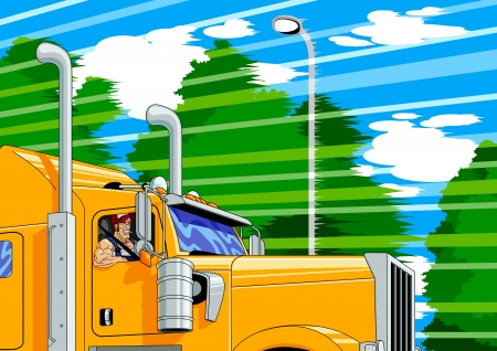 truck driver: Illustration of a truck driver at full speed.