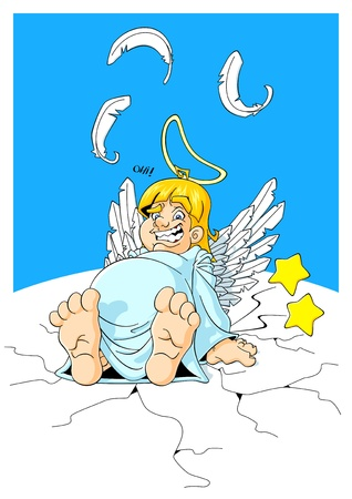 stomach pain: Illustration of a plump angel fell down for too much weight.