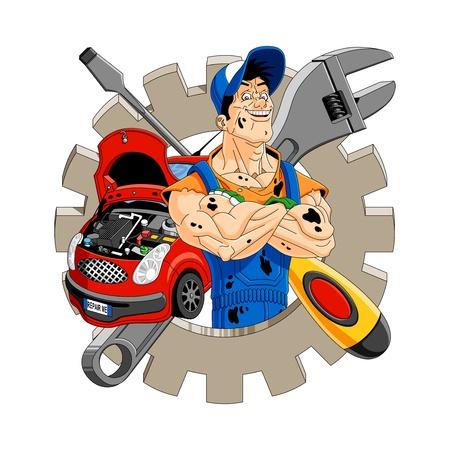Ilustraci�n abstracta de un mec�nico alegre con el equipo, el coche, un destornillador y una llave en el fondo.