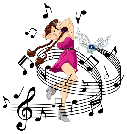 Abstract illustration of girl listening to music with headphones. Her MP3 player is flying (it has wings). Vector