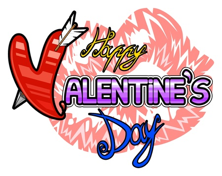 Logo for Valentine Day with handmade calligraphy Stock Vector - 17530556
