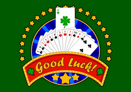 Composition with playing cards, stars and space for your text. A special ace, with four leaf clover as suit, comes out from the deck. Vector