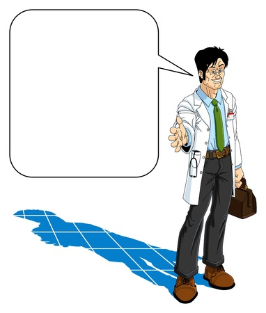 young male doctor: Friendly doctor holds out his hand for a handshake. There is a balloon with space for your text.