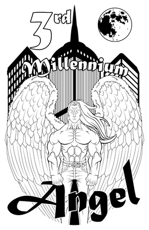 millennium: Black and white illustration for t-shirt design. The angel wears a pair of jeans and, behind him, there are three modern buildings. You can easy take out the text and write your one. Illustration