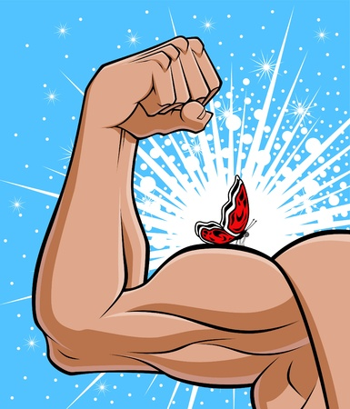 represents: Conceptual illustration describing the opposite of the brute strength. The muscular arm symbolizes the strength and the butterfly on it represents the fragility, the lightness. Illustration