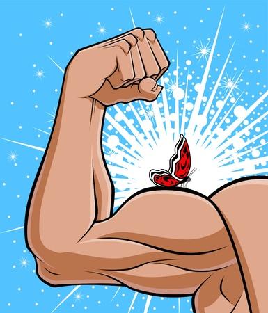 brute: Illustrazione concettuale che descrive l'opposto della forza bruta. Il braccio muscoloso simboleggia la forza e la farfalla su di esso rappresenta la fragilit�, la leggerezza. Vettoriali