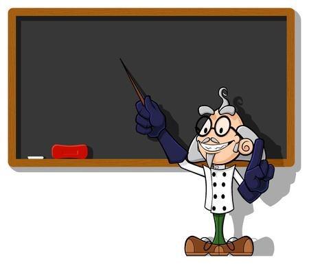 Illustration d'un savant drôle du tableau. Le scientifique souligne le tableau noir vide avec une tige, expliquant sa (votre) idée. Vecteurs