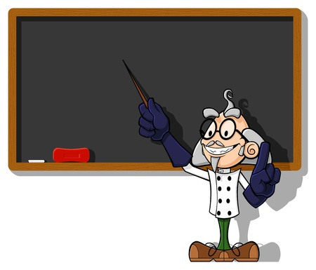 explain: Illustration of a funny scientist at chalkboard. The scientist points the empty blackboard with a rod, explaining his (your) idea. Illustration