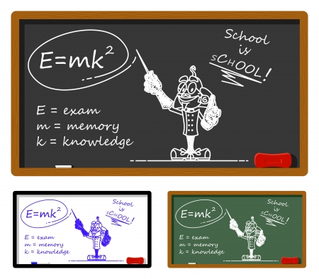 Funny illustration describing the rule to pass the exam. On the chalkboard it is drawn a bizarre scientist. You can easily clear the chalkboard and write your text. Stock Vector - 18843572