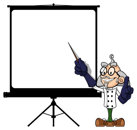 lab coat: Illustration of a funny scientist at projector screen. The scientist points the empty screen with a rod, explaining his (your) idea. Illustration