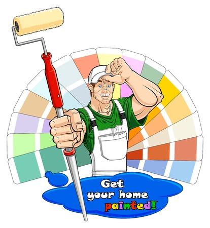 verfblik: Illustratie van een glimlachende huis schilder met verfroller. Onder hem is er een verf vlek met tekst: u kunt het wissen en schrijf uw one. Kleur gids op de achtergrond.