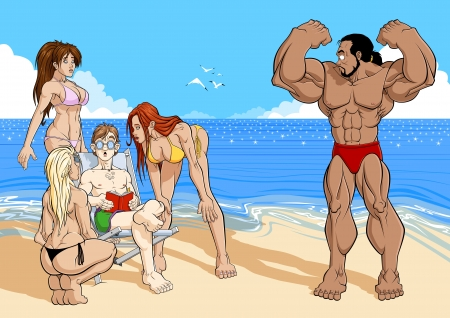 seduction: Funny illustration about reading. On the beach, three attractive girls are charmed to an ugly reader: the girls do not pay attention to the tanned bodybuilder near them. Reading make you cool!