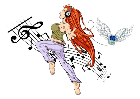 Illustration of girl jumping while listening to music with headphones. Her MP3 player is flying (it has wings). The girl is barefoot. White background with musical notes. Vector