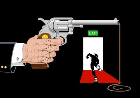 runaway: Ilustraci�n conceptual sobre el escape de la violencia.