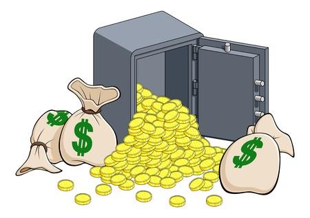 Illustration eines offenen Safe mit einem Stapel von goldenen Münzen und einige Taschen von Dollar. Isoliert auf weißem Hintergrund.