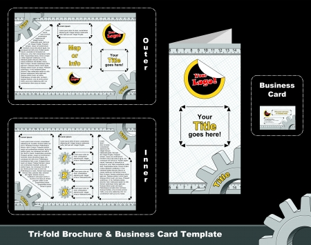 Technical tri-fold leaflet and business card template. Proportions of the depliant: A4 (print area), 5 mm of bleed area. Proportions of the business card: 8 x 5 cm (print area), 5 mm of bleed area. Vector