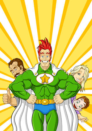 Illustration of cheerful superhero protecting a family  You can clear the symbol on his chest and put your logo  Vector