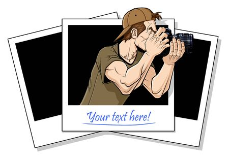 Abstract illustration of photographer shooting something  The photographer comes out from an instant photo  In the white space of the photo there is a space to write your text  White background   Vector