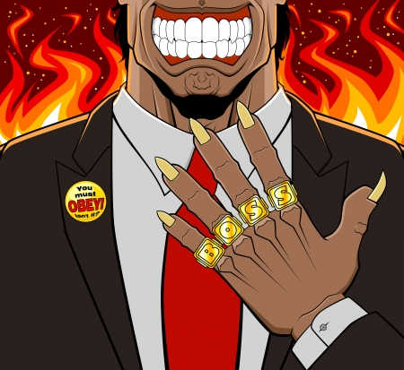 Conceptual illustration of evil boss  He has a devilish aspect and shows his golden rings  every ring has a letter to compose the word boss  Lapel badge with maxim on the jacket  Flaming background  Vector