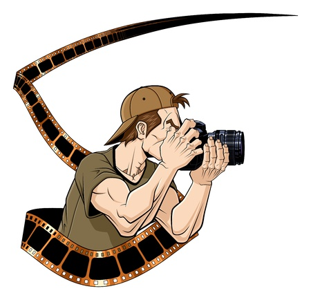 Abstract illustration of photographer with photographic film  White background  Vector