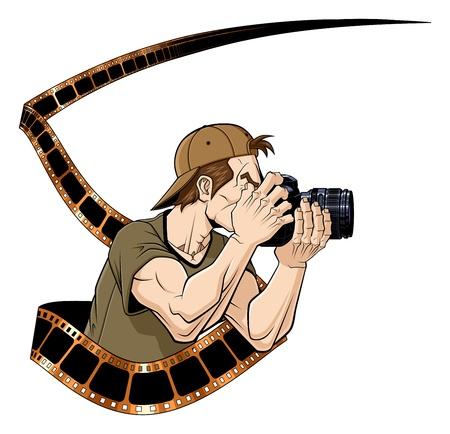 Ilustración abstracta de fotógrafo con la película fotográfica Fondo blanco Ilustración de vector